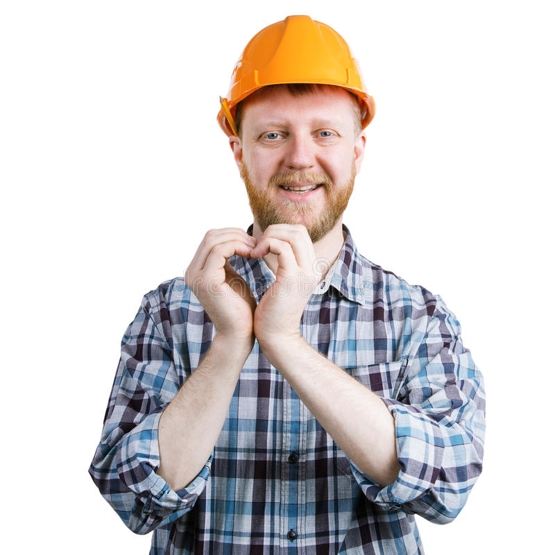 Man folded his hands in the form of heart stock photos