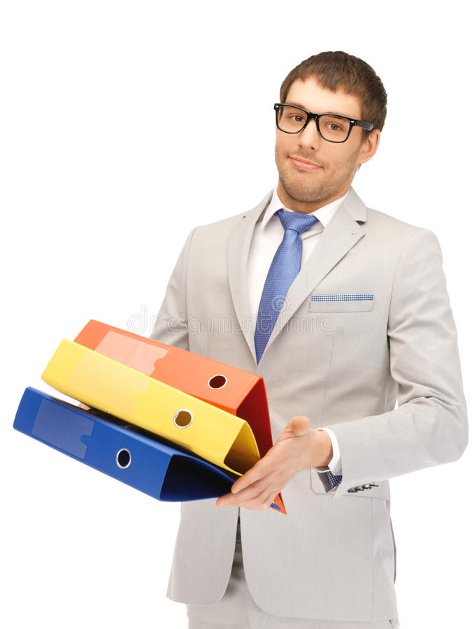 Man with folders. Bright picture of handsome man with folders royalty free stock photo