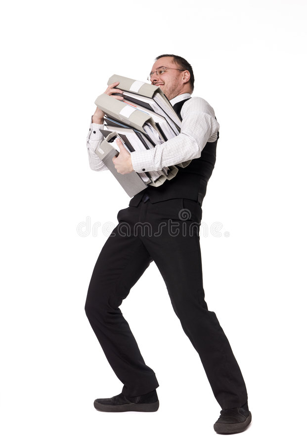 Man with folders. Man with to much work royalty free stock photography