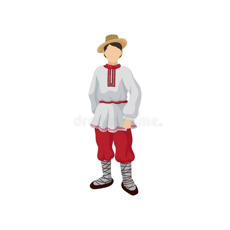 Man in folk Romanian costume shirt with traditional ornament on collar, red pants, straw hat and bast shoes. Flat vector stock illustration