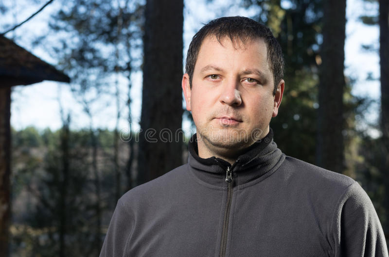 Man in the forest stock photos