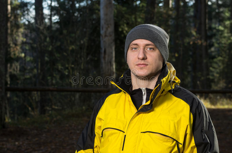 Man in the forest royalty free stock photography