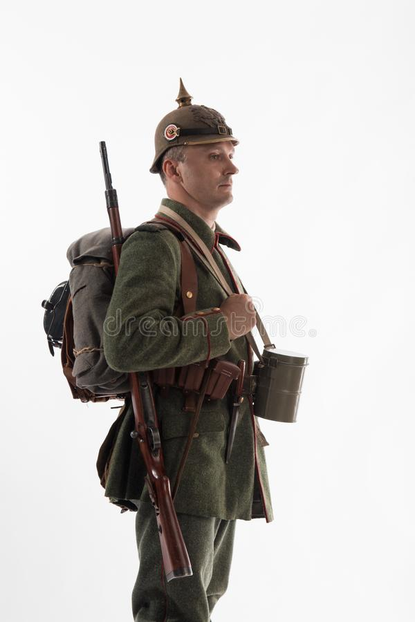 Man in the form of a German infantryman from the times of the First World War royalty free stock photos