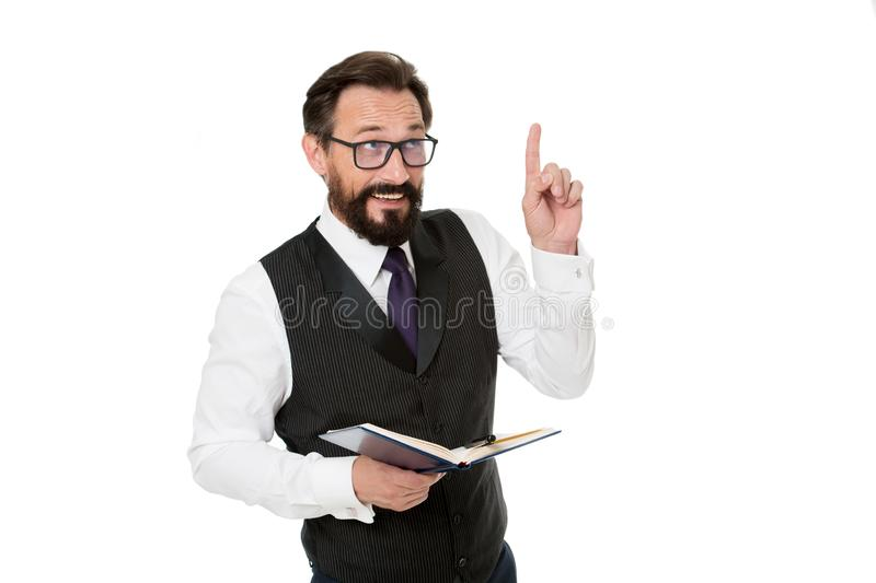 Man formal clothes hold notepad white explain business topic. Business school concept. Expert eyeglasses smart teacher. Business academy lecturer. Speaker royalty free stock image