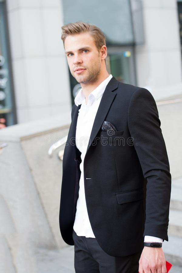 Man formal outfit businessman handsome well groomed urban background. Gentleman dressed professional attire mean serious stock images