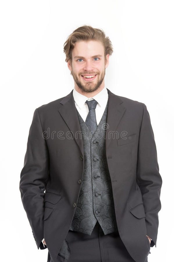 Man in formal outfit isolated on white. stock photos