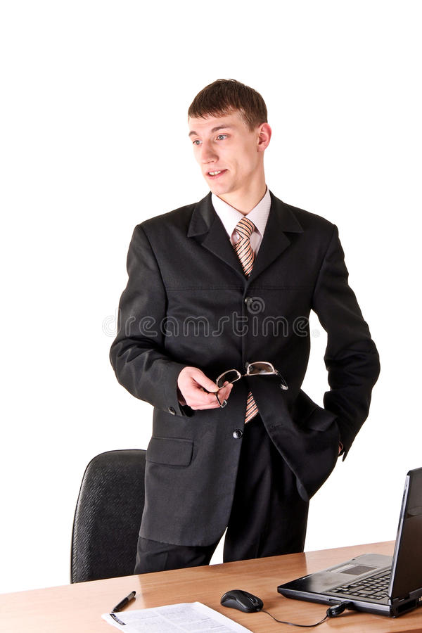Man In Formal Wear Thinking, Workplace Stock Photography