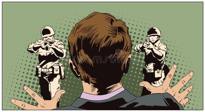 Man framme av folk med vapen utförande Materielillustrati royaltyfri illustrationer
