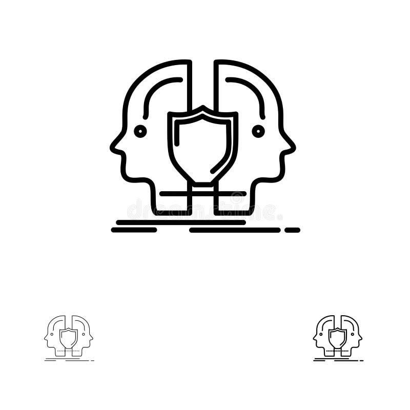 Man-, framsida-, dubbel, för identitet, för sköld satt en klocka på och tunn svart linje symbolsuppsättning stock illustrationer