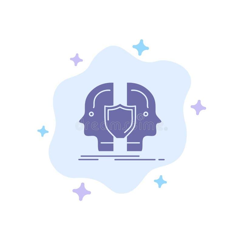 Man framsida som är dubbel, identitet, blå symbol för sköld på abstrakt molnbakgrund stock illustrationer