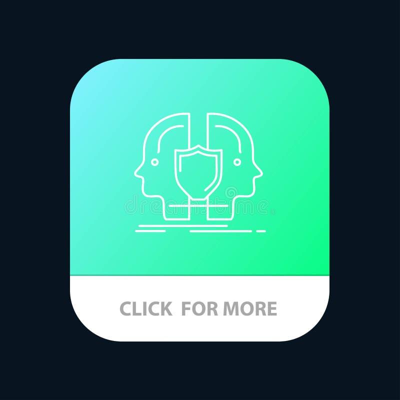 Man framsida som är dubbel, identitet, mobil Appknapp för sköld Android och IOS-linje version vektor illustrationer