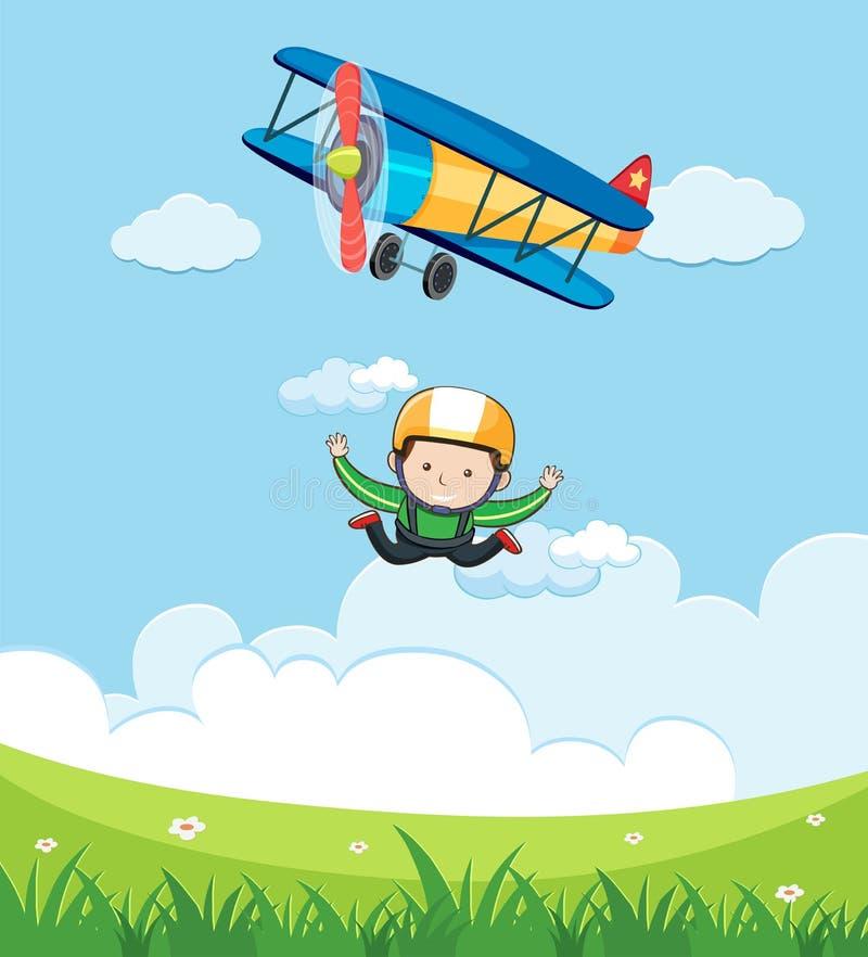 A Man Free Fall Skydiving vector illustration