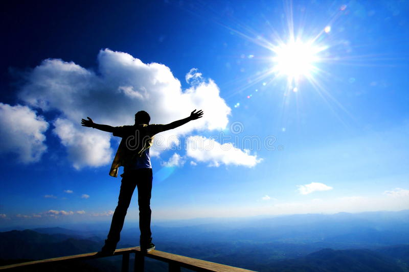 Download Man in freedom stock photo. Image of success, cloud, sunshine - 19010306
