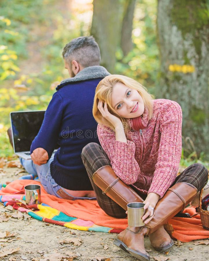 Man freelance worker internet addicted gamer with laptop forest. Internet addicted husband. Working on fresh air stock images