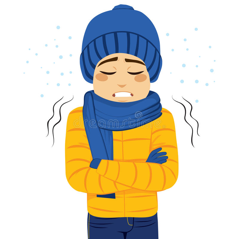 Man Freezing Shivering. Young man freezing wearing winter clothes shivering vector illustration