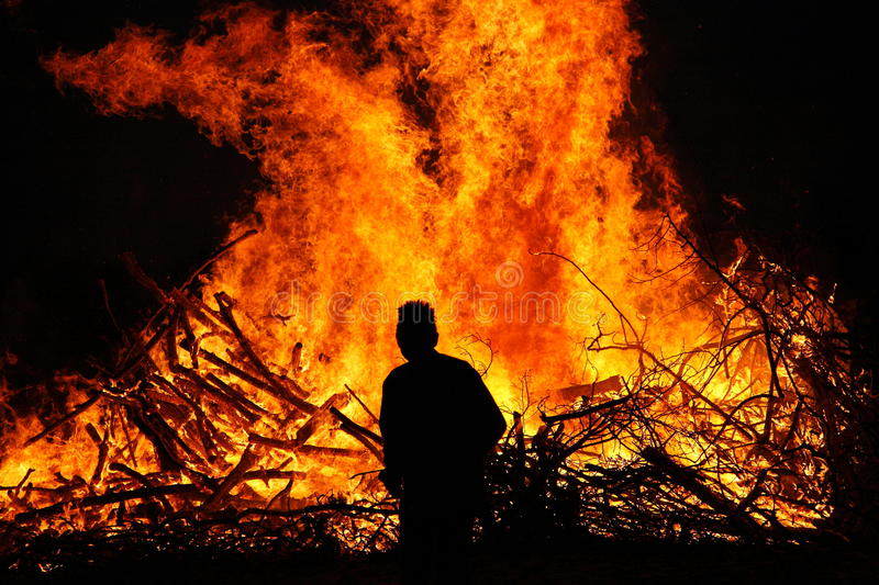 Download Man in front of a bonfire stock image. Image of burn - 25971691