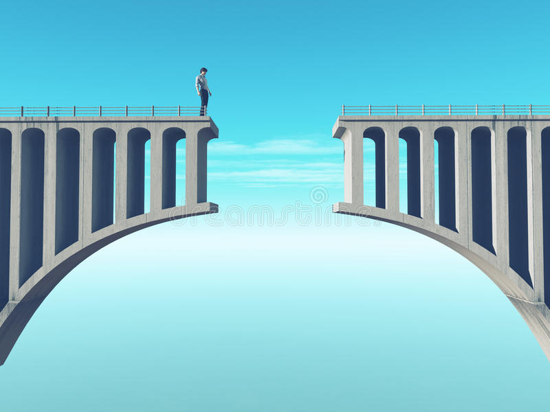 Man in front of a broken bridge. This is a 3d render illustration royalty free illustration