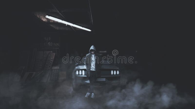 Man in front of car royalty free stock photography