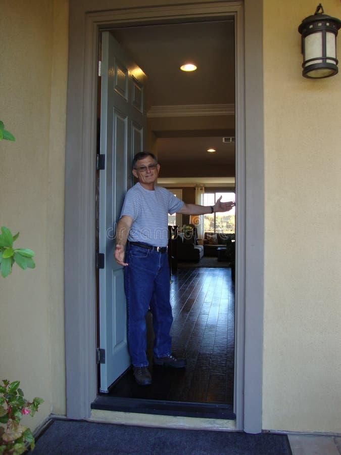 open front door. Download Man At Open Front Door Stock Photo. Image Of Welcome - 11534606