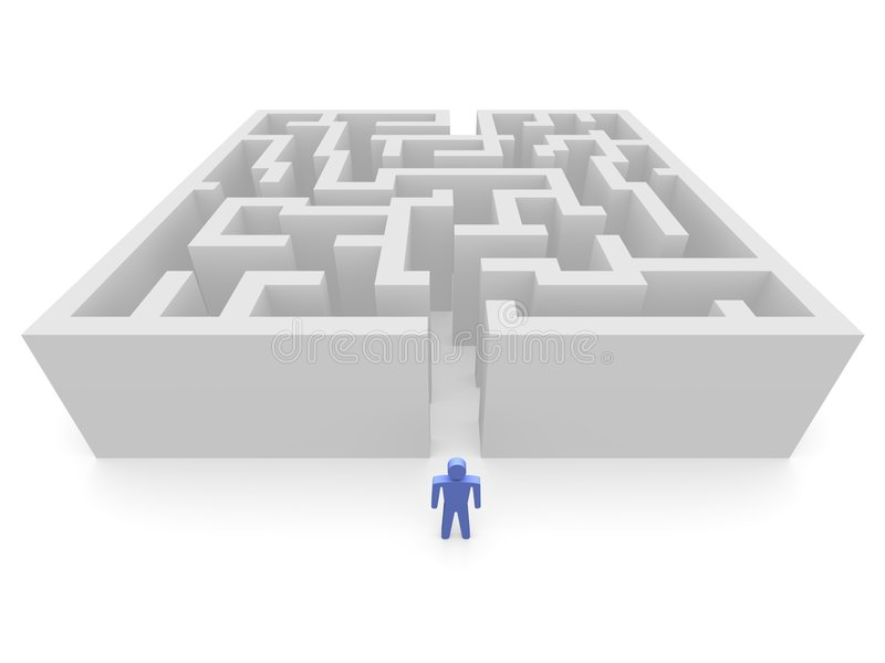 Man in front of labyrinth royalty free illustration
