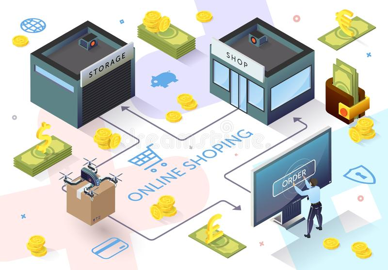 Man in front Monitor Shopping Online Payment. Man in front Monitor Shopping Online. Communication Bank and Store. Online Payment. E-Banking System. Financial vector illustration