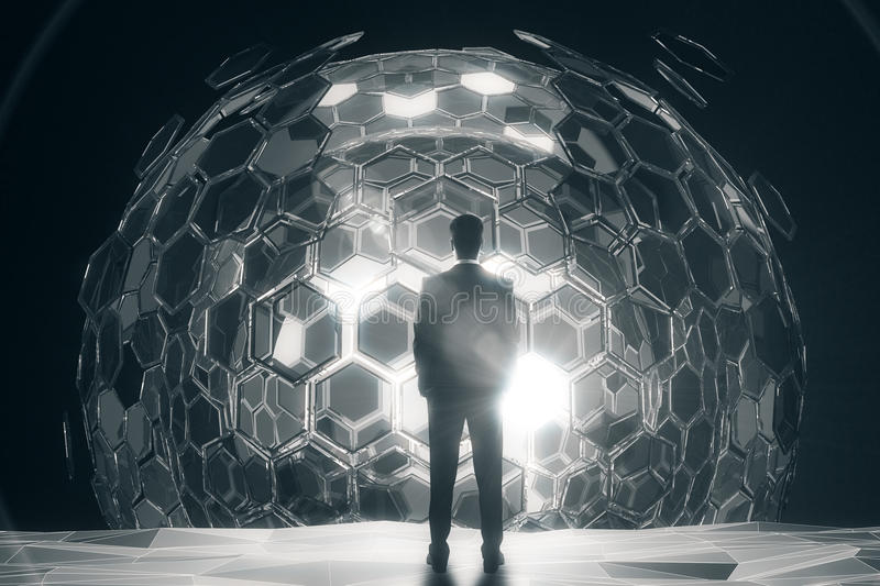 Man in front of silver sphere. Back view of businessman standing in front of cellular silver sphere on dark background. 3D Rendering. Technology concept royalty free illustration