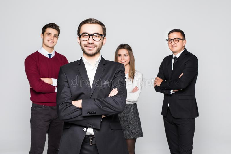 Man in front of team Group of business people isolated over white background royalty free stock photos