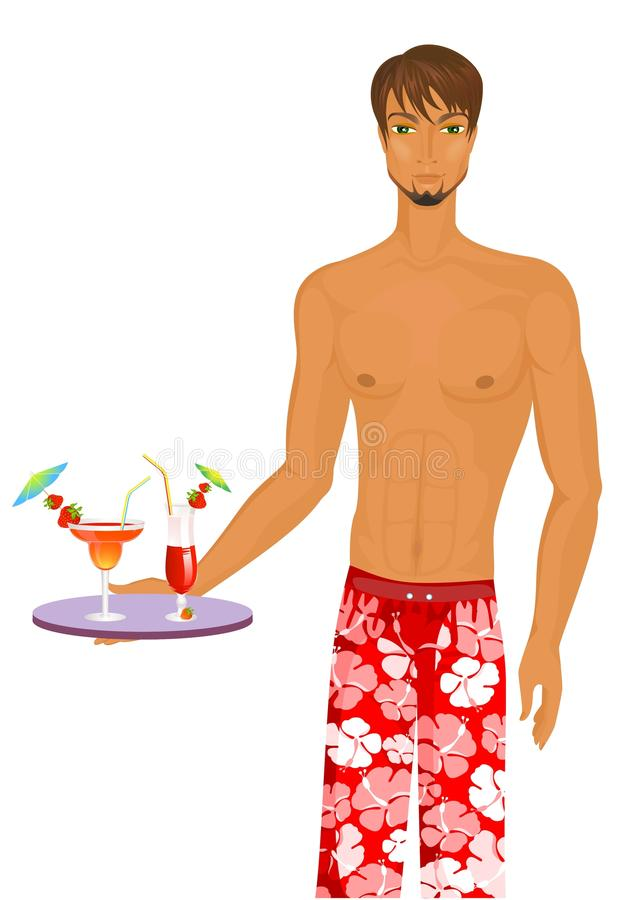 Man with Fruits cocktails with fruits stock illustration