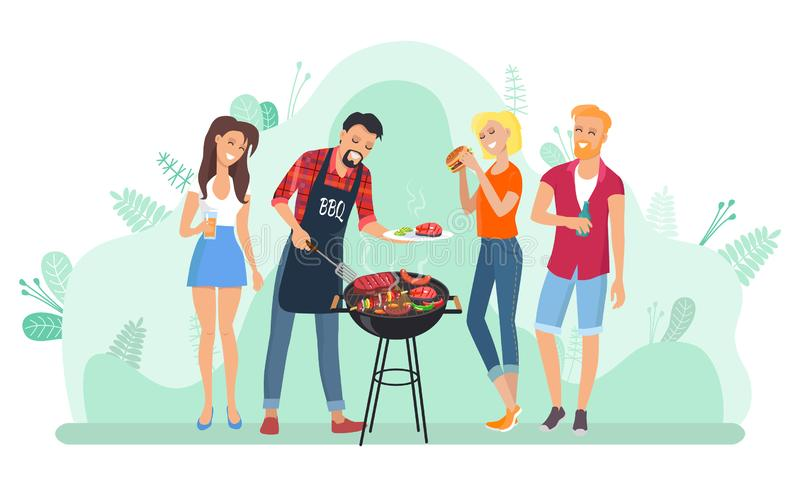 Barbecue Leisure, People Frying Meat, Grill Vector. Man frying meat on grill, friends eating food outdoor, holiday picnic. People holding meal, grilled steak and stock illustration