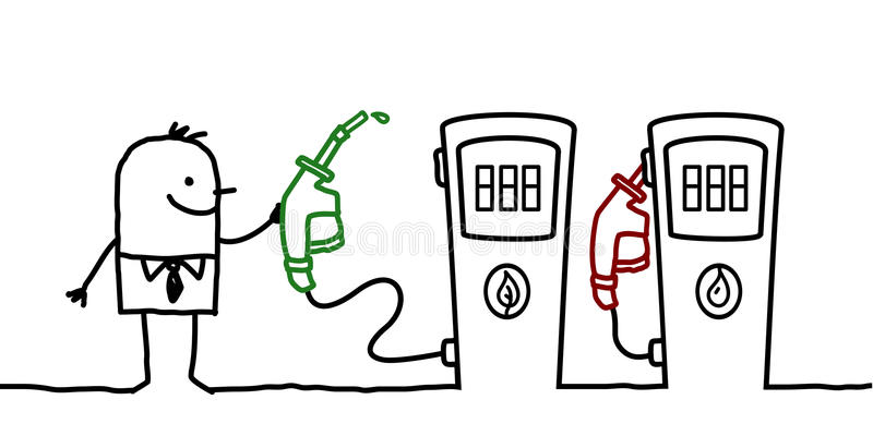 Man & fuel choice. Hand drawn cartoon characters - man & fuel choice stock illustration