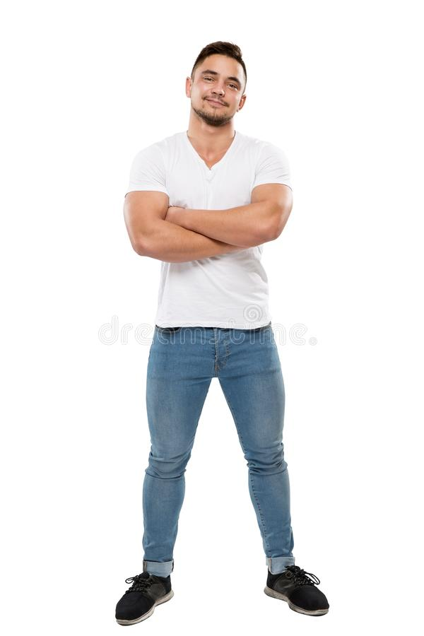 Man Full Body Portrait on White Background, Boy in T Shirt and Jeans, Arms Folded. Man Full Body Portrait Isolated over White Background, Boy in T Shirt and royalty free stock image