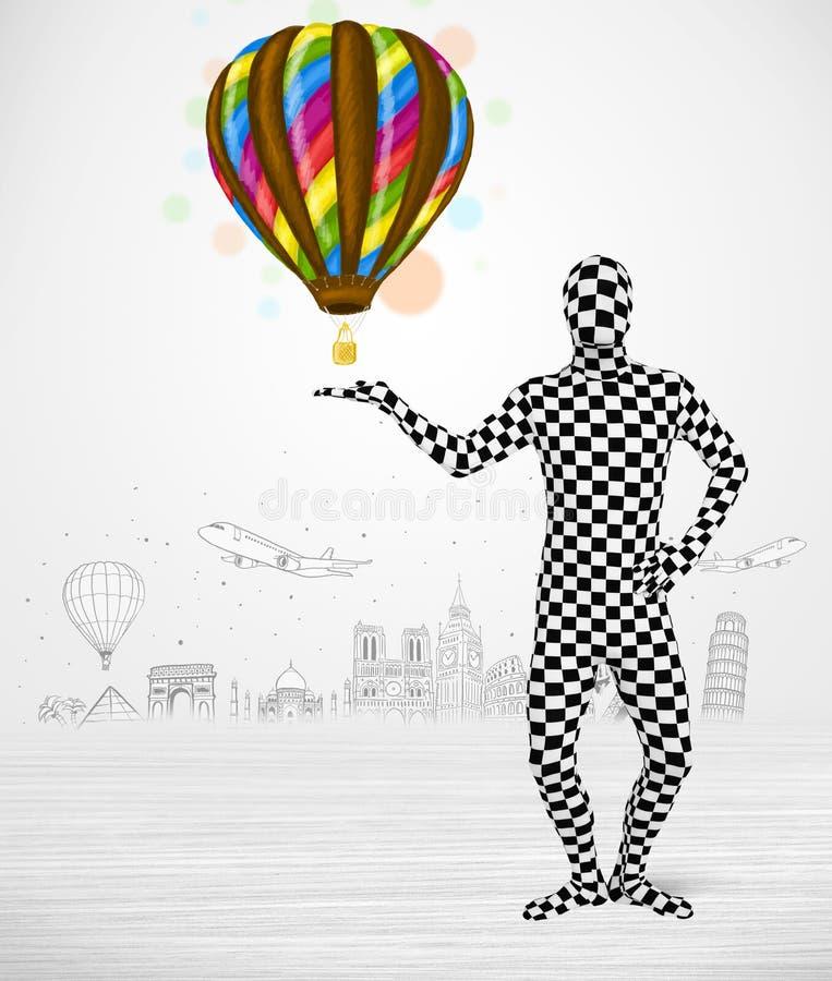 Man in full body suit holding balloon royalty free illustration