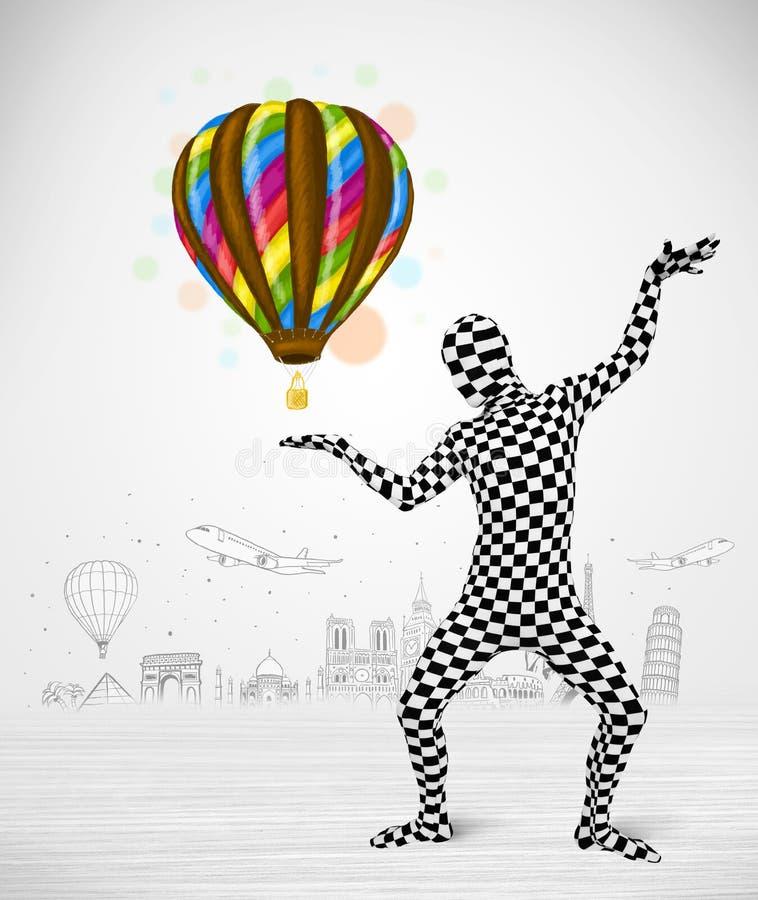 Man in full body suit holding balloon vector illustration
