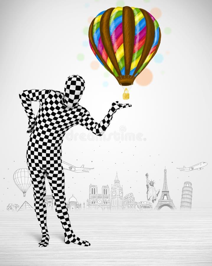 Man in full body suit holding balloon stock illustration