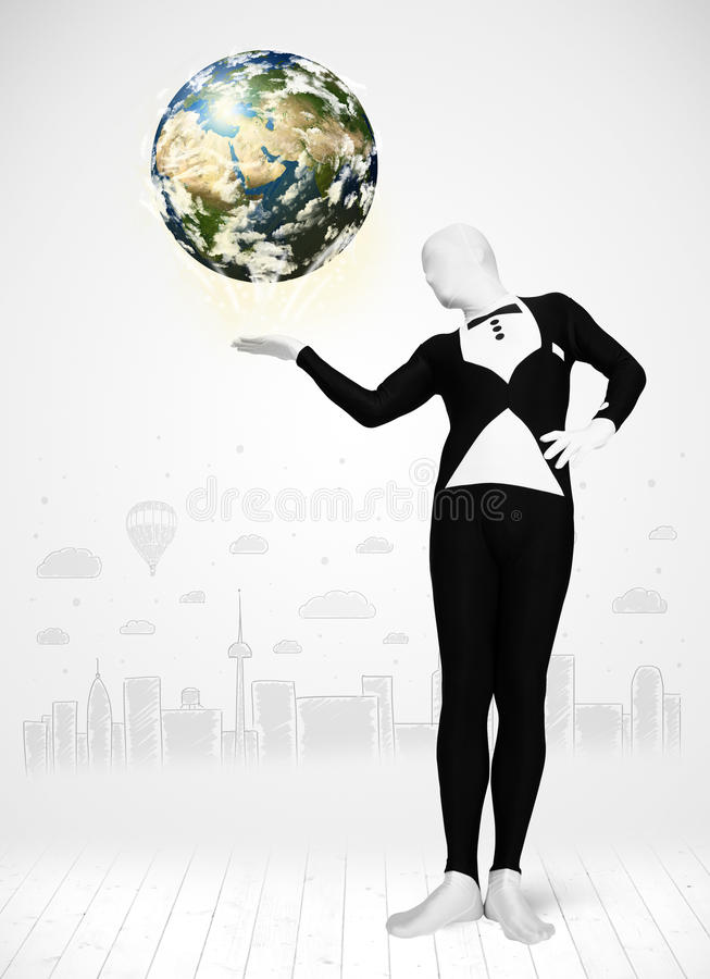 Man in full body suit holding planet earth vector illustration
