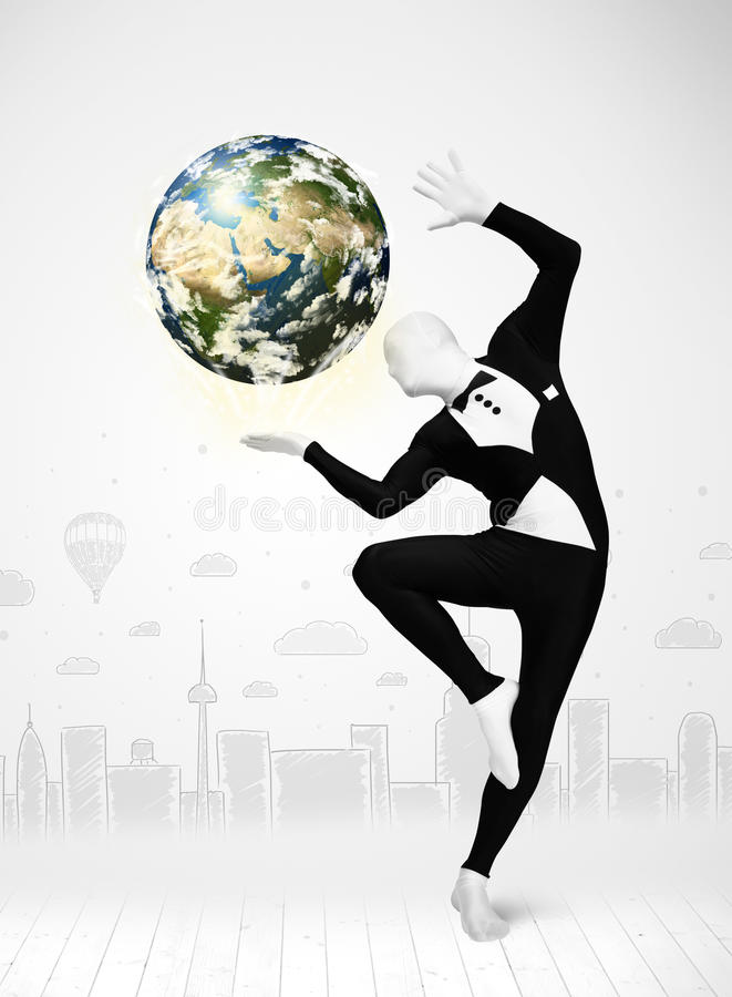 Man In Full Body Suit Holding Planet Earth Stock Photography