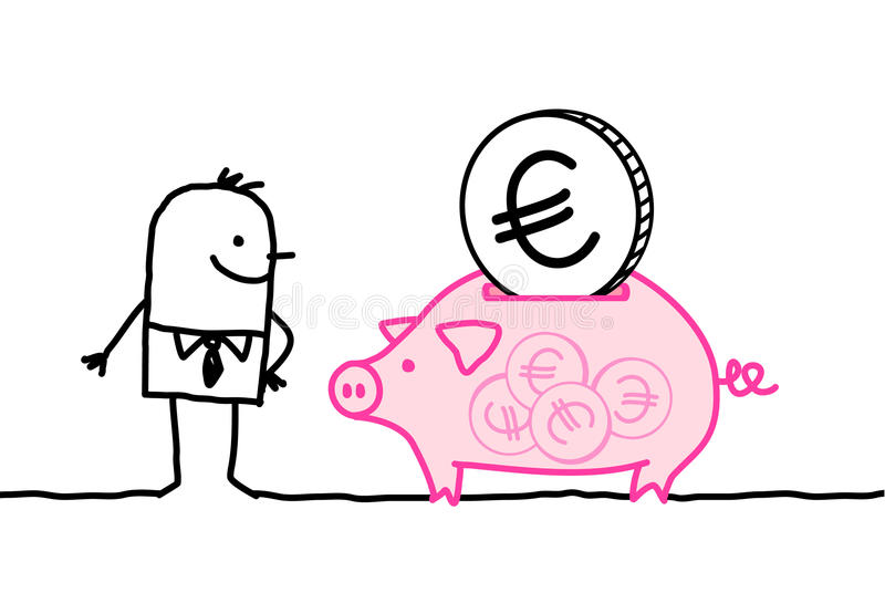Man and full piggy bank royalty free illustration