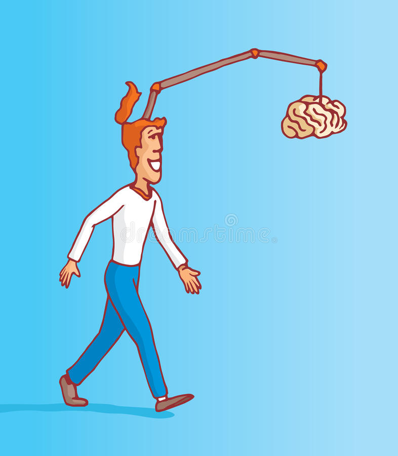 Man on full procrastination chasing his own brain vector illustration