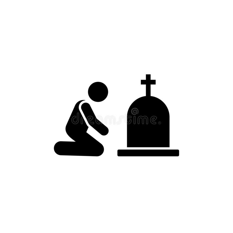 Man funeral burial sorrow icon. Element of pictogram death illustration.  royalty free illustration