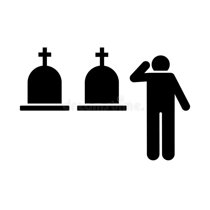 Man funeral burial sorrow icon. Element of pictogram death illustration.  stock illustration
