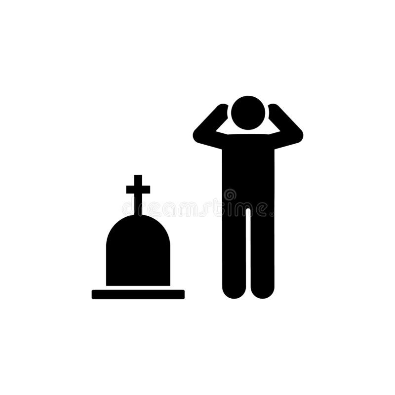 Man funeral cry sorrow icon. Element of pictogram death illustration.  stock illustration