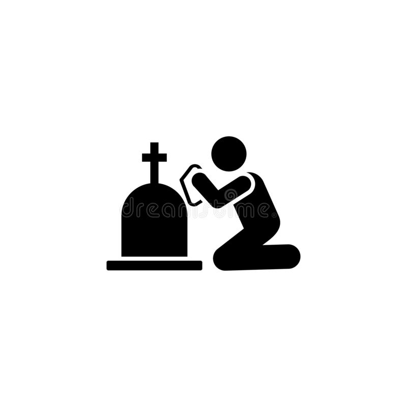 Man funeral sorrow burial icon. Element of pictogram death illustration.  vector illustration