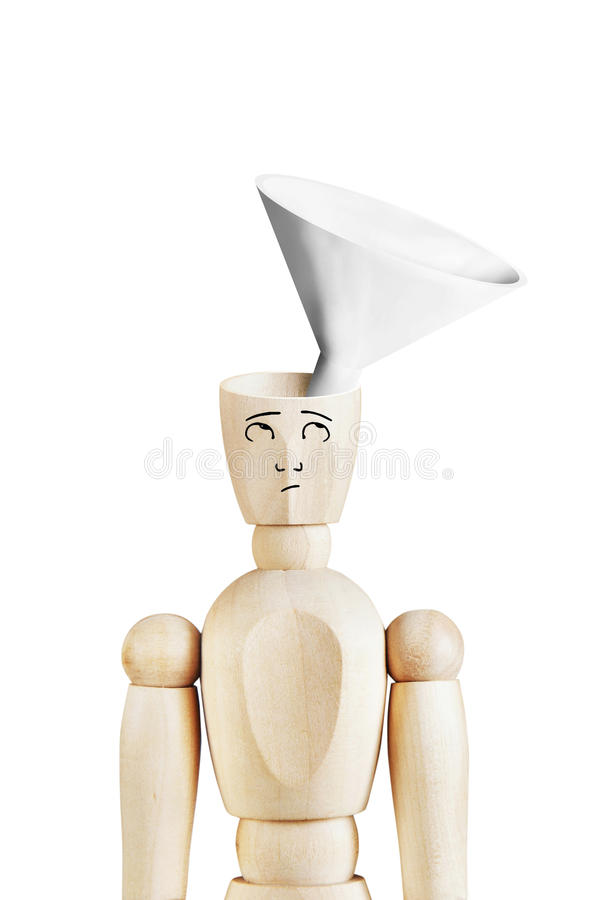 Man with a funnel in the empty head. Abstract image with wooden puppet royalty free stock photo