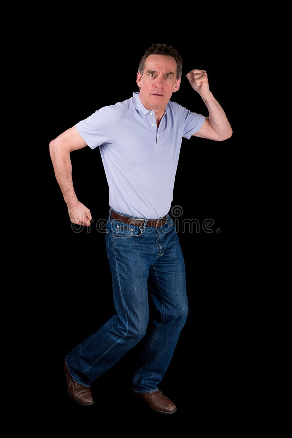 Man Funny Dancing Running on the Spot royalty free stock photo