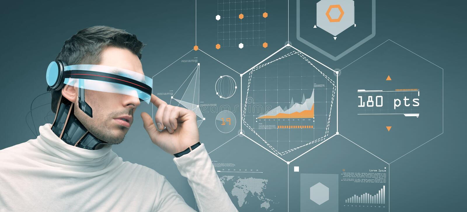 Man with futuristic 3d glasses and sensors vector illustration