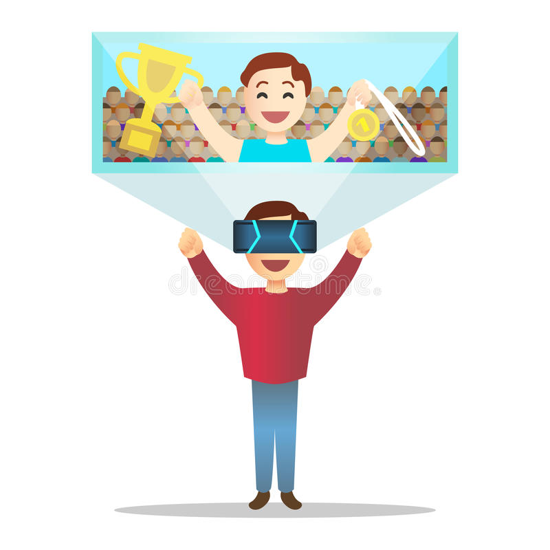 Man in futuristic high tech glasses for virtual reality. Vector. royalty free illustration