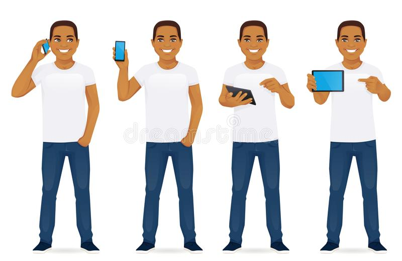 Man with gadgets set stock illustration