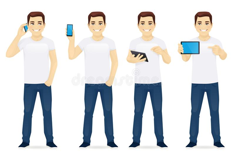 Man with gadgets set vector illustration