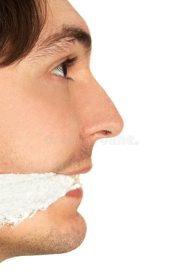 Man with gag. Isolated over white royalty free stock photo