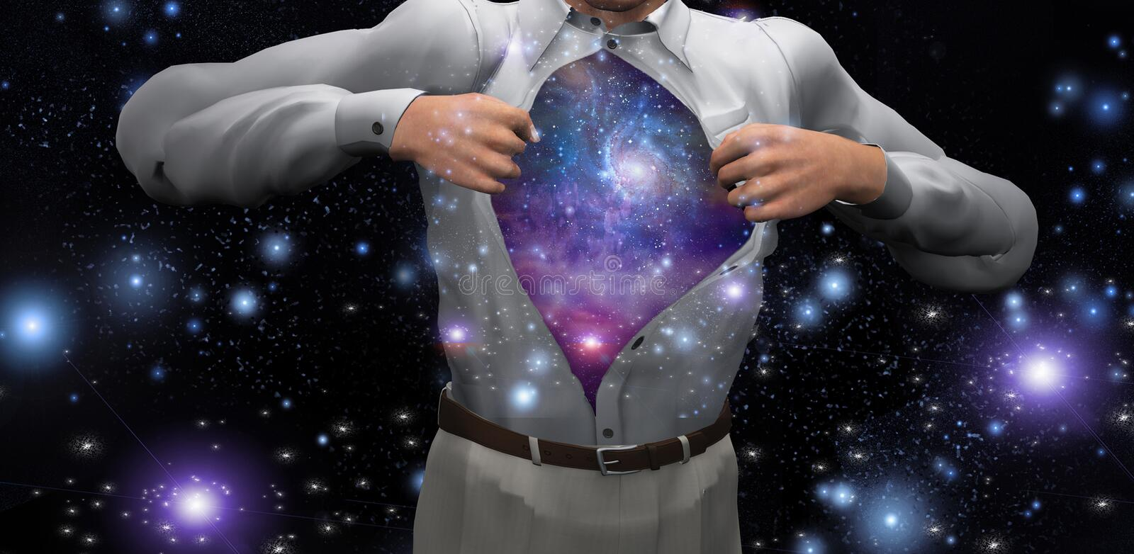 Man with galaxies inside. Man opens shirt to reveal the galaxies. Human elements were created with 3D software and are not from any actual human likenesses. Some stock illustration